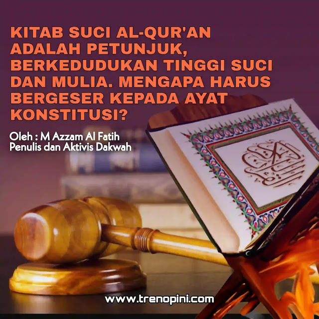 Al- Qur'an adalah kitab suci yang Allah SWT turunkan kepada Nabiyullah Muhammad Saw untuk seluruh umat manusia. Keberadaannya dapat dibuktikan 100% kebenaranya sebagai Kalamullah melalui dalil aqli. Tatkala manusia menjadikan satu - satunya sumber pedoman dan petunjuk hidupnya maka dirinya mendapatkan cahaya yang dapat menyelamatkan kehidupan dunia maupun akhirat. Bahkan manusia yang telah melekat dengan Al Qur'an, Akhlaknya mulia, ucapanya selalu jujur, tawadhu, bijak, dan sebagainya. Bahkan dirinya tidak takut ancaman penjara atau mati karena menyuarakan kebenaran. Sebab dirinya yakin ada kehidupan kekal setelah kematian. Lebih takjubnya Lagi, tatkala Al Qur'an diterapkan secara kaffah melalui negara. maka dapat menyelamatkan manusia dari kesesatan dan kerusakan dunia akibat nafsu manusia.