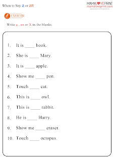 MamaLovePrint 英文工作紙 -  Articles Grammar Unit (a / an) Exercise and Quiz Learning Activities Kindergarten Worksheet Free Download 英文冠詞 a / an 幼稚園工作紙