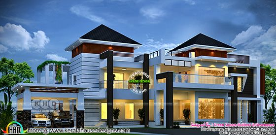 Mixed roof modern 4 bedroom home design plan