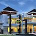 Mixed roof modern 4 bedroom home design plan