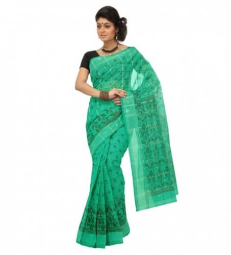 Green And Cream Tant Cotton Saree
