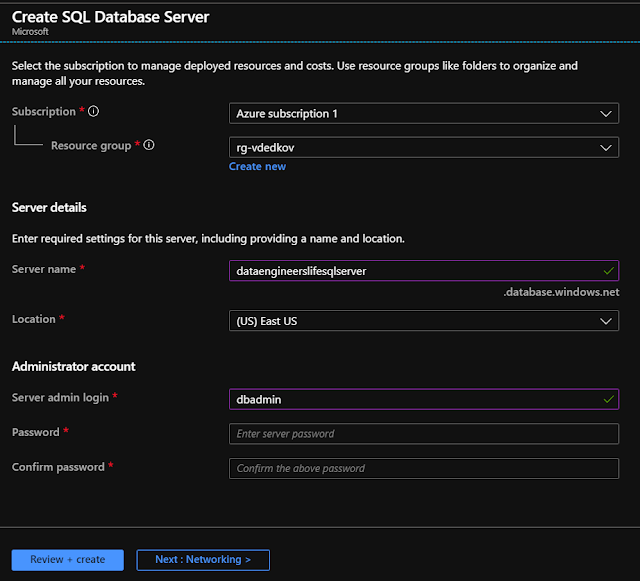 SQL Server credentials page