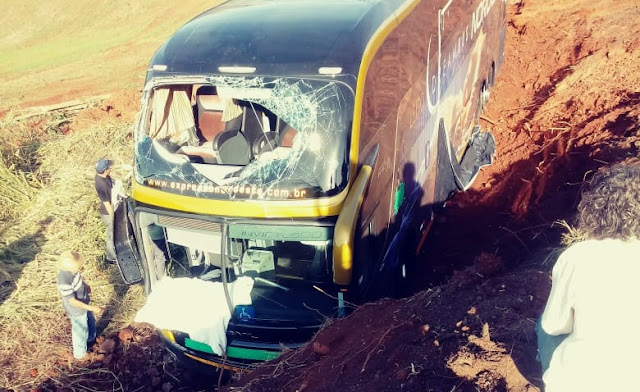 Nova Tebas: Ônibus tomba na BR-487