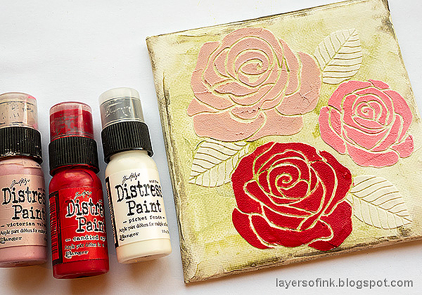 Layers of ink - Mixed Media Rose Canvas Tutorial by Anna-Karin Evaldsson. Paint the roses.