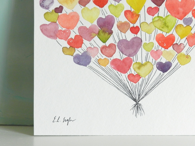 Watercolor Heart Balloons-Valentine's Art: Grow Creative