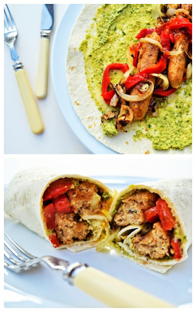 Veggie Sausage, Red Pepper & Hummus Wrap