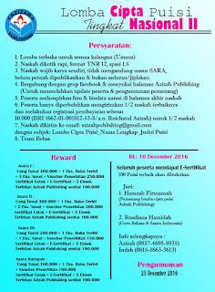 Lomba Cipta Puisi 2016 dari Azizah Publishing