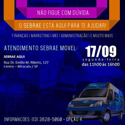 Sebrae Móvel estará neste mês em Miracatu