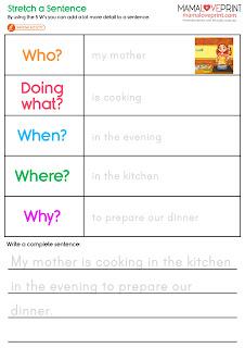 Mama Love Print 自製工作紙 - 學習擴充英文句子工作紙 延伸句子練習 Stretch a Sentence English Worksheets Printable Freebies Activities Daily