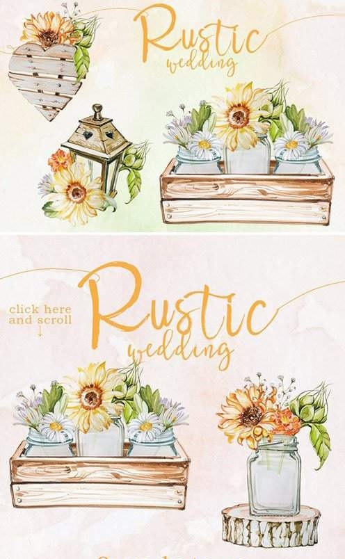 Watercolor Rustic Wedding Clipart - Free Download - DXP
