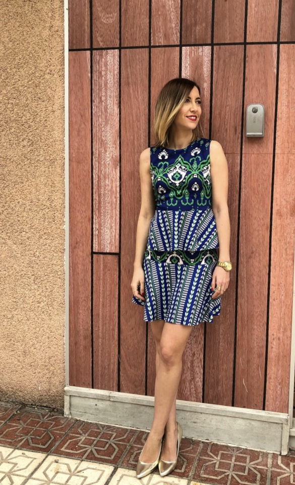 Fitness And Chicness-Vestido estamapado azul y verde-Vestido y Tacon-5
