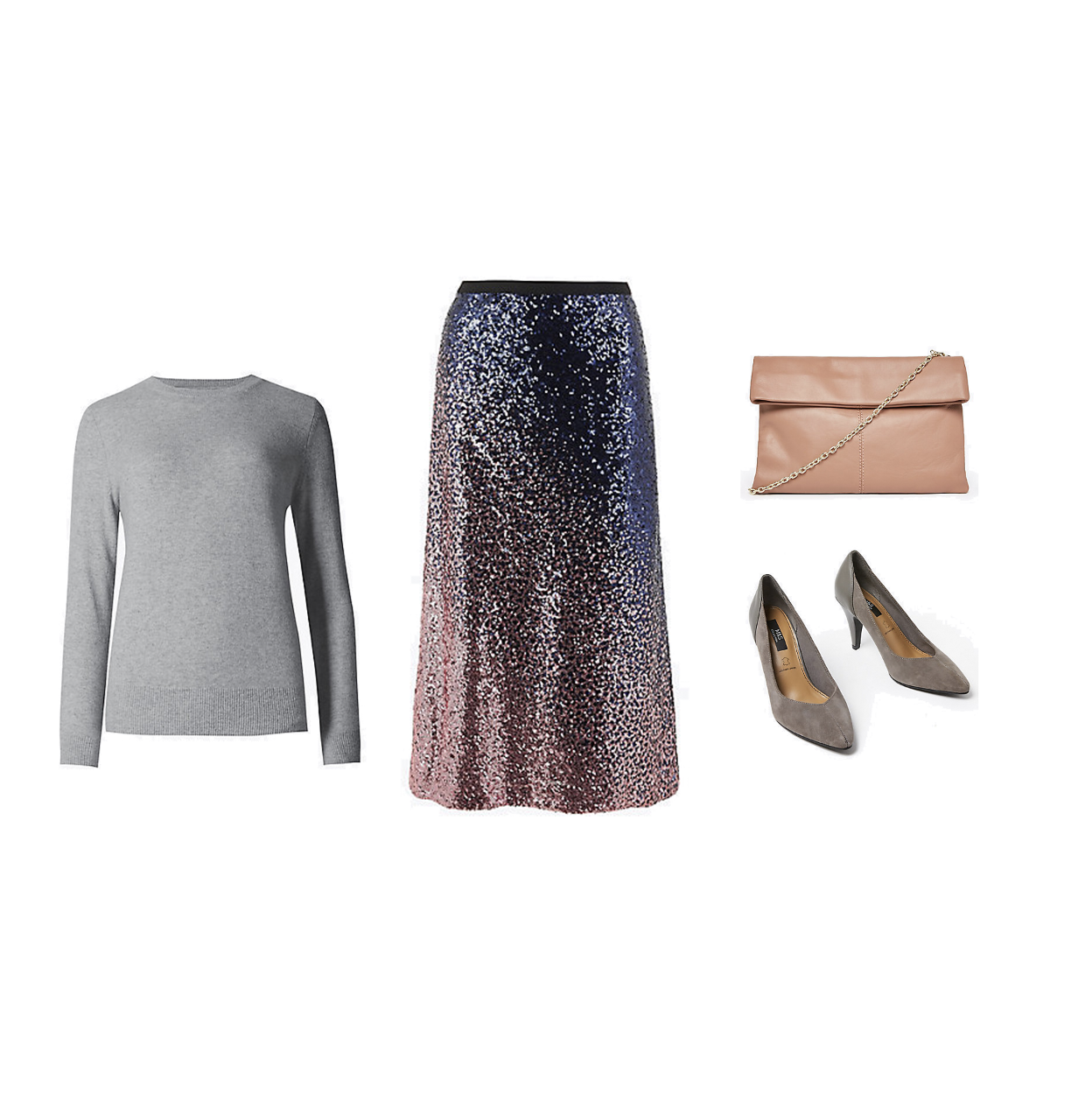 my midlife fashion, marks and Spencer party wear, party wear, marks and Spencer pure cashmere round neck jumper, marks and Spencer ombre sequin slip midi skirt, marks and Spencer leather foldover clutch bag, marks and Spencer suede contrast back court shoes