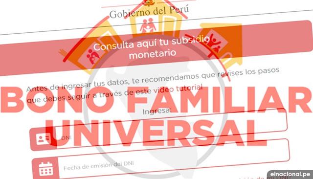 WWW.BFU.GOB.PE cronograma y fecha de pago segundo Bono Universal
