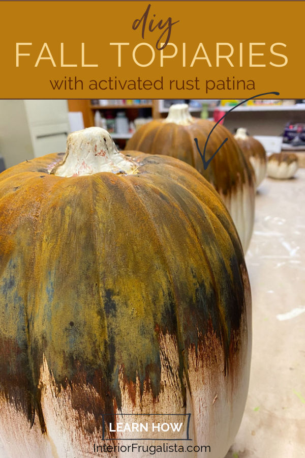 DIY Rusty Abstract Painted Pumpkin Topiaries by Interior Frugalista, a unique non-traditional twist for faux stacked outdoor pumpkins and fun to watch the rust magically happen! #fauxpumpkins #paintedpumpkins