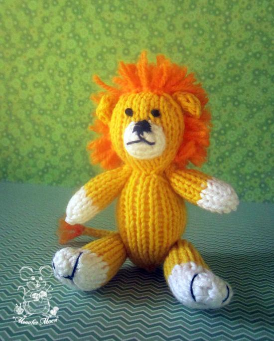 игрушка спицами, львенок, игрушка для фотосессии