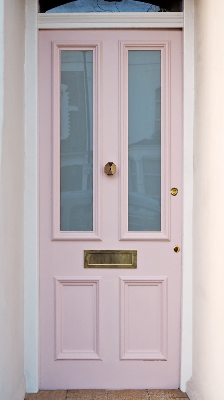French For Pineapple Blog - Discovering Sanderson Paint - Pink Victorian Front Door painted in Pink Ash Light