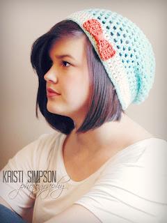 Lacey Slouchy Hat, crochet pattern,  www.KristiSimpson.net,