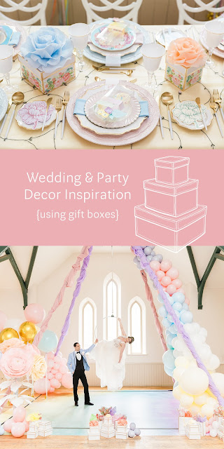 wedding and party decor inspiration using gift boxes | Creative Bag and Historia Wedding and Event Planning