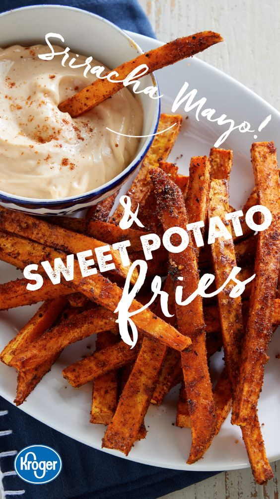 Sweet Potato Fries with Sriracha Mayo #recipes #dinnerrecipes #dishesrecipes #dinnerdishes #dinnerdishesrecipes #food #foodporn #healthy #yummy #instafood #foodie #delicious #dinner #breakfast #dessert #lunch #vegan #cake #eatclean #homemade #diet #healthyfood #cleaneating #foodstagram
