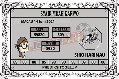 Syair Mbah Karwo Togel Macau Senin 14 Juni 2021