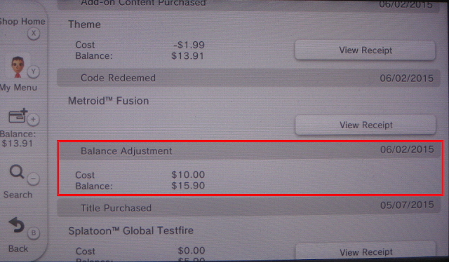 Nintendo eShop balance adjustment screenshot picture money funds
