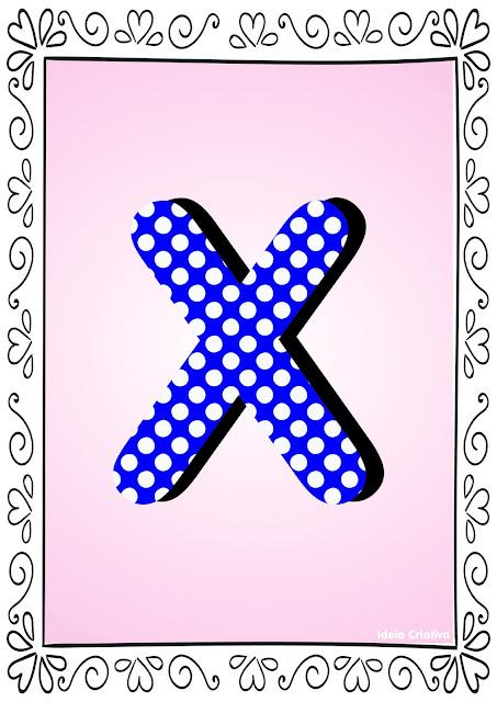 Alfabeto Poá Colorido com Borda Letra X