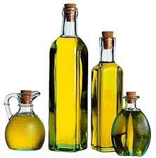 Natural oils in glass bottles