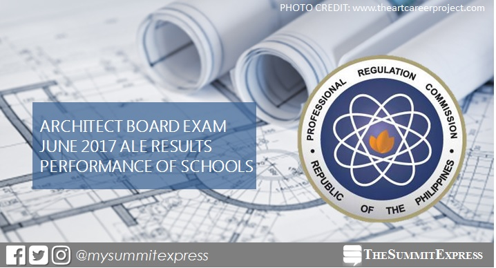 Top performing school, performance of schools Architect board exam June 2017 ALE