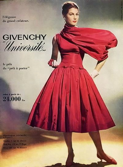 Model in Red Dress in Givenchy 1956 Ad  Photo by Guy Arsac