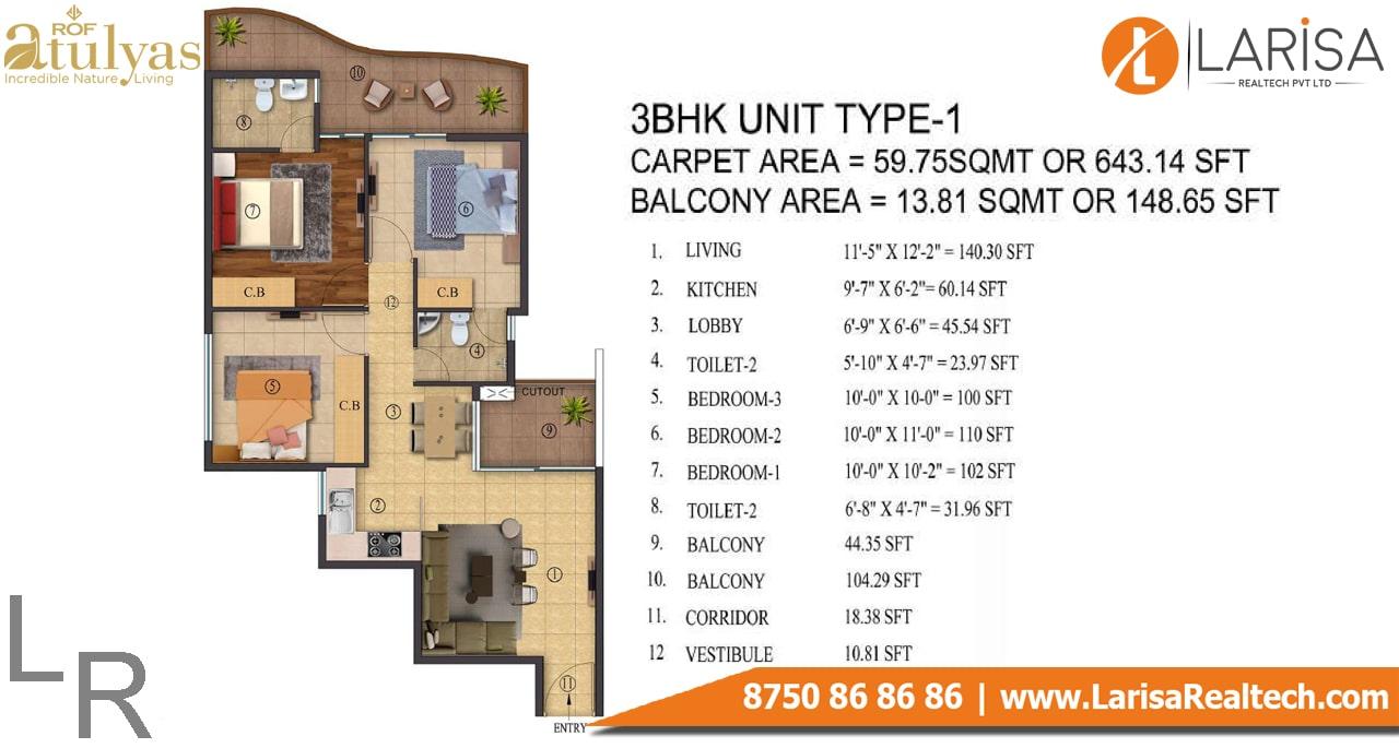 ROF Atulyas 93 3BHK Type-1 Floor Plan