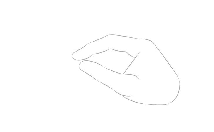 Tangan memegang indeks tampilan samping sumpit dan gambar jempol