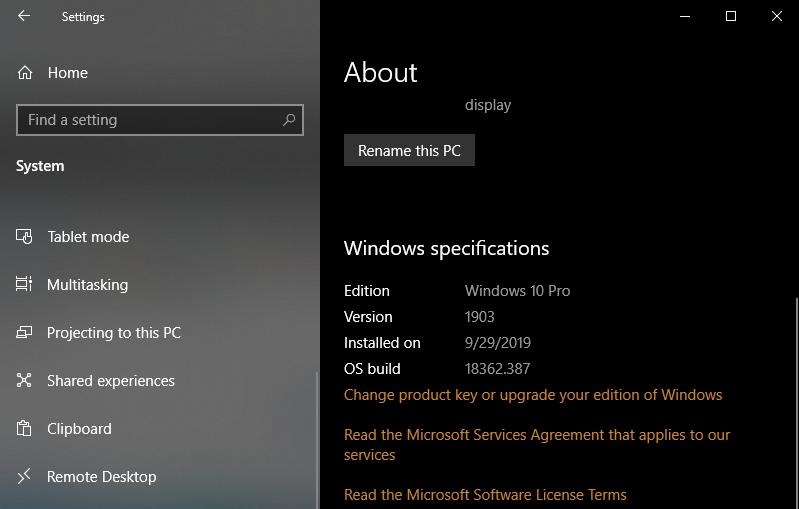 Cách kiểm tra phiên bản Windows 10 trên máy tính