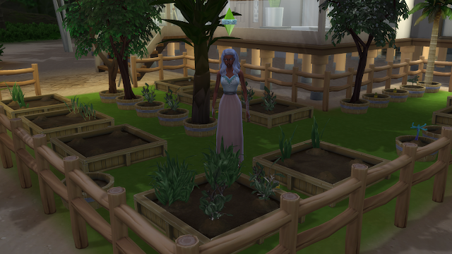 Screen grab of a sim planting flowers in a garden