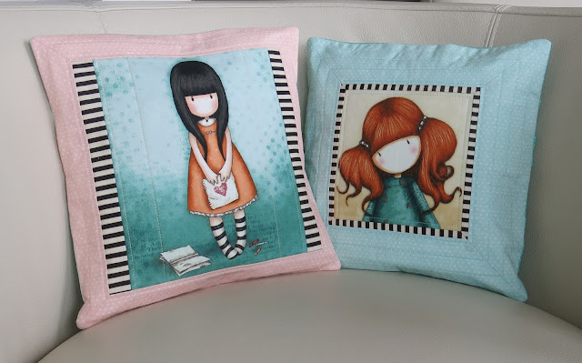 Luna Lovequilts - Quilted cushions made with fabric panels from Santoro Gorjuss collection