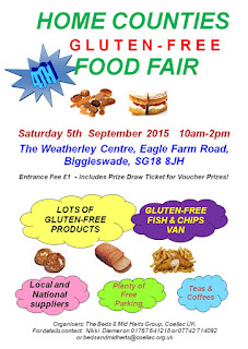 Poster for the Home Counties Gluten Free Food Fair taking place in Biggleswade, Bedfordshire on Saturday 5th September
