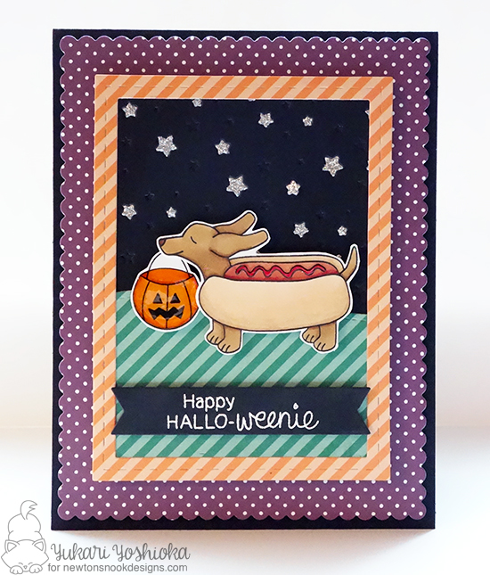 Dachshund Hot Dog Halloween card by Yukari Yoshioka | Dress Up Doxies stamp set by Newton's Nook Designs #newtonsnook