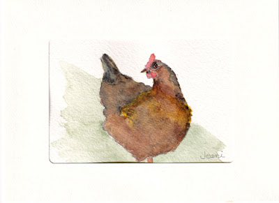 Classic Vegetable Quiche (this image - my watercolor sketch of a hen) / www.delightfulrepast.com