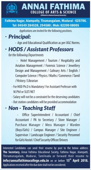 Faculty Plus Teaching Faculty Jobs in Annai Fathima College of Arts ...