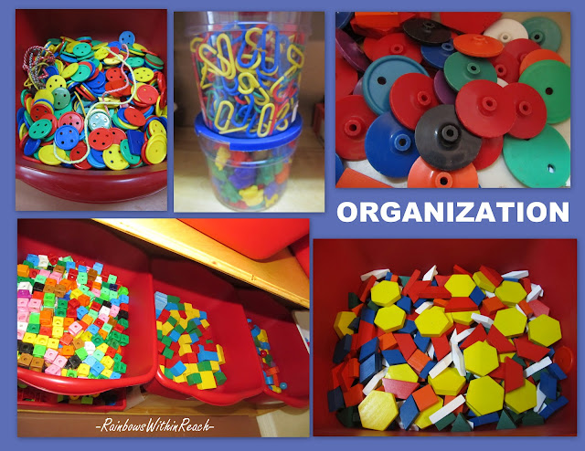photo of: Organize fine motor materials, fine motor manipulative materials, preschool shelves organized