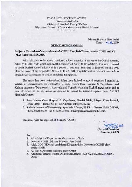 bapu-nature-cure-delhi-and-kailash-institute-of-naturopathy-noida-empanelment-under-cghs-paramnews