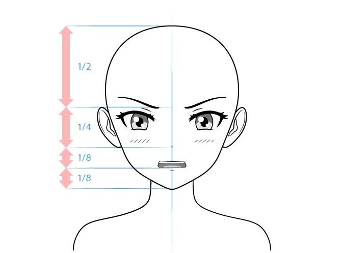 Anime tsundere karakter perempuan menggambar wajah malu