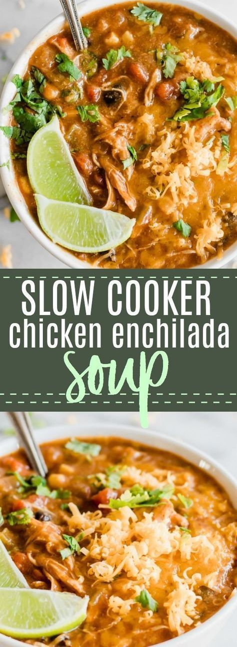 Slow Cooker Cheesy Chicken Enchilada Soup