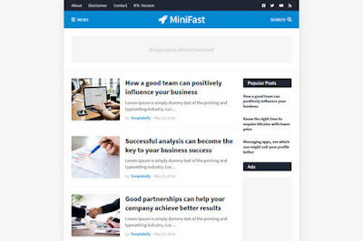 Minifast blogger template for google blogger