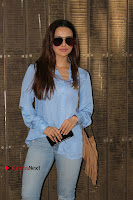 Actress Sana Khan Pos in Denim Jeans Dubbing at Her Upcoming Movie Toilet Ek Prem Katha .COM 0001.jpg