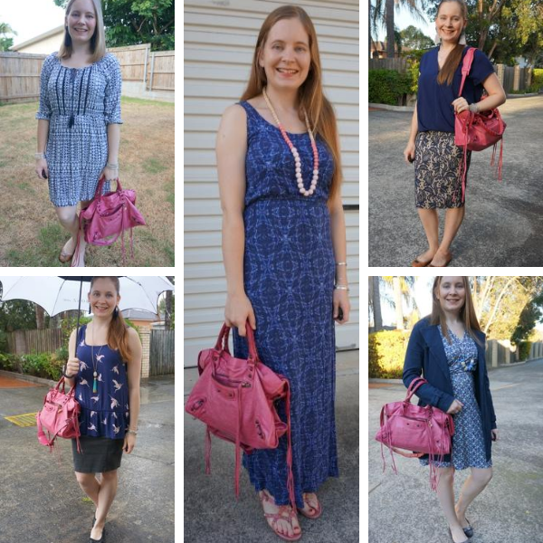 5 ways to wear Balenciaga city bag in sorbet pink RH with blue outfits different shades awayfromtheblue