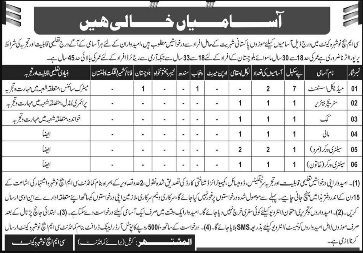 Pakistan Army CMH Jobs 2019