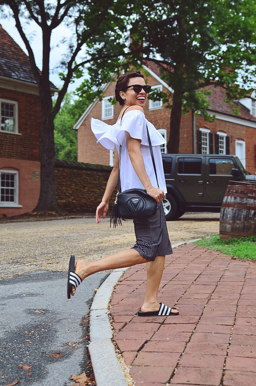 Outfit with Adidas sandals