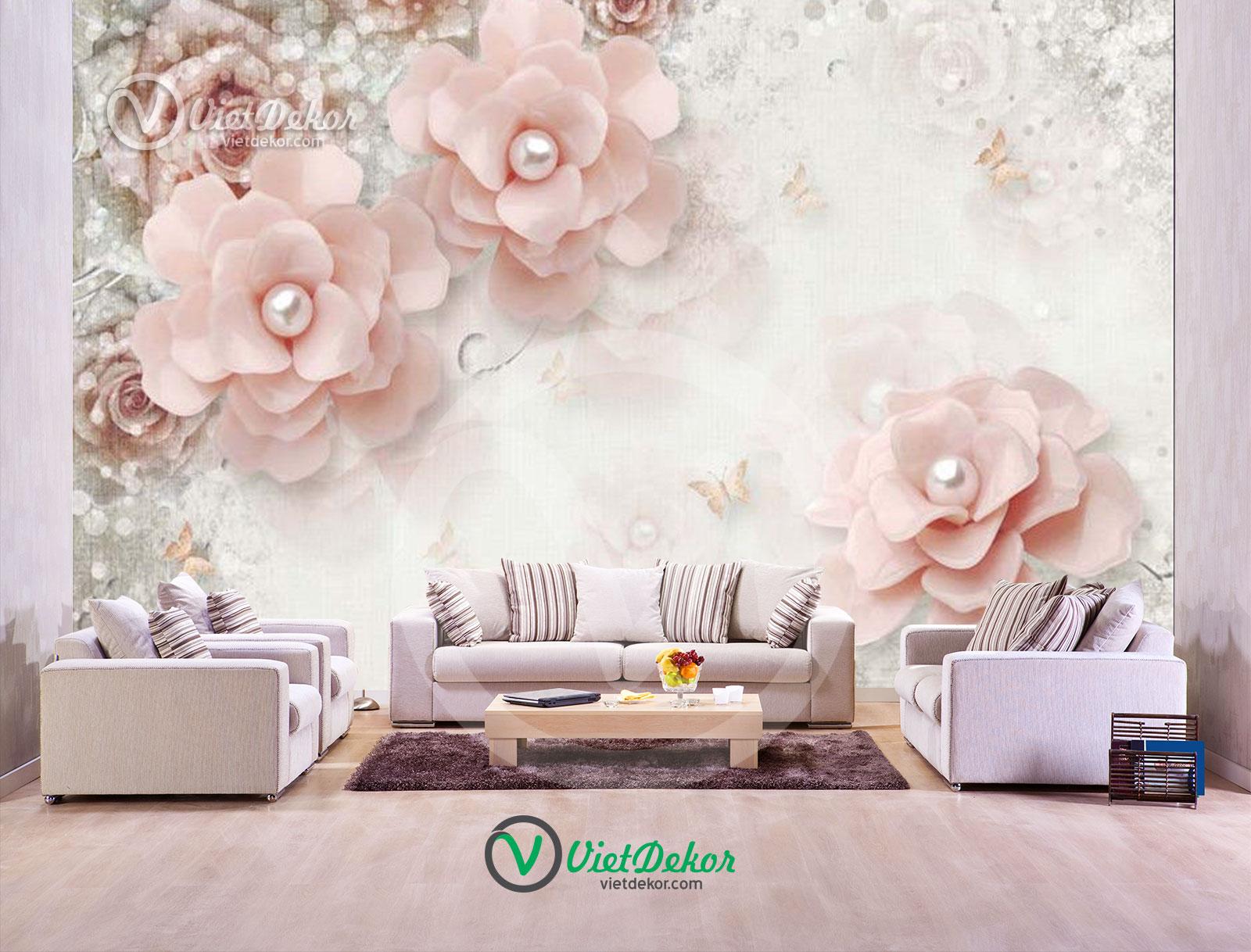 Tranh dán tường 3d hoa ngọc trang sức
