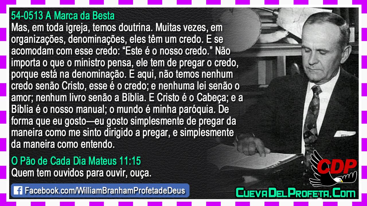 Não temos nenhum credo senão Cristo - William Marrion Branham