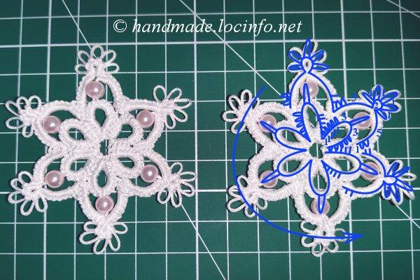 タティングレースで作るシンプルなスノーフレークモチーフ,simple snowflake motif made with tatting lace,梭编蕾丝編制的简单雪花图案